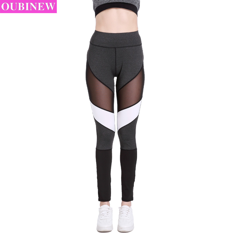 OUBINEW Deportivas Mujer skinny pants Black Mesh Splicing Sexy Women Sporting Leggings Compression Fitness Pants Patchwork