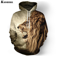 Really Cool 3D Lion Men Hoodies Hip Hop Sweatshirt Men Fashion Brand Plus Size 3XL Hoodie