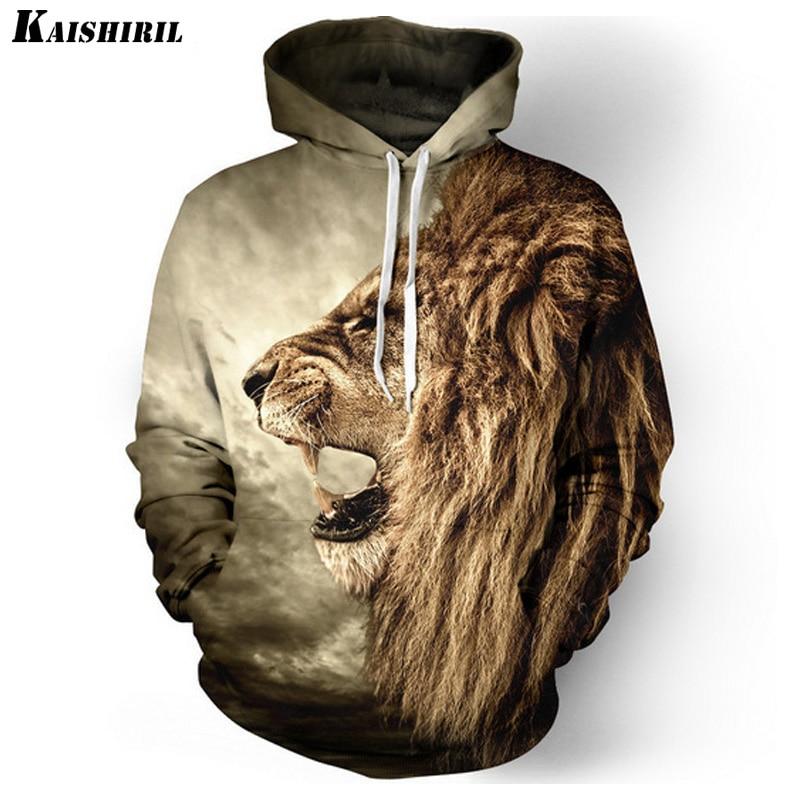 Kaishiril Men's 3D Hoodies Lion Sweatshis
