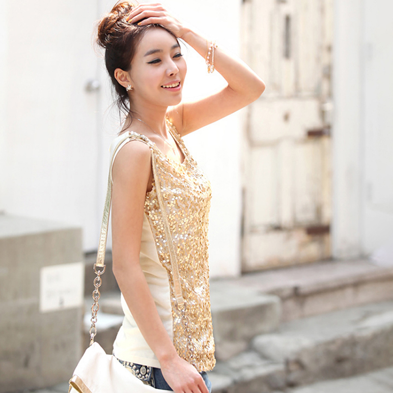Sexy Sleeveless Tank Tops Women Gold Thread Top Vest Sequined O Neck Tank Tops Blusa Silver Gold Camis