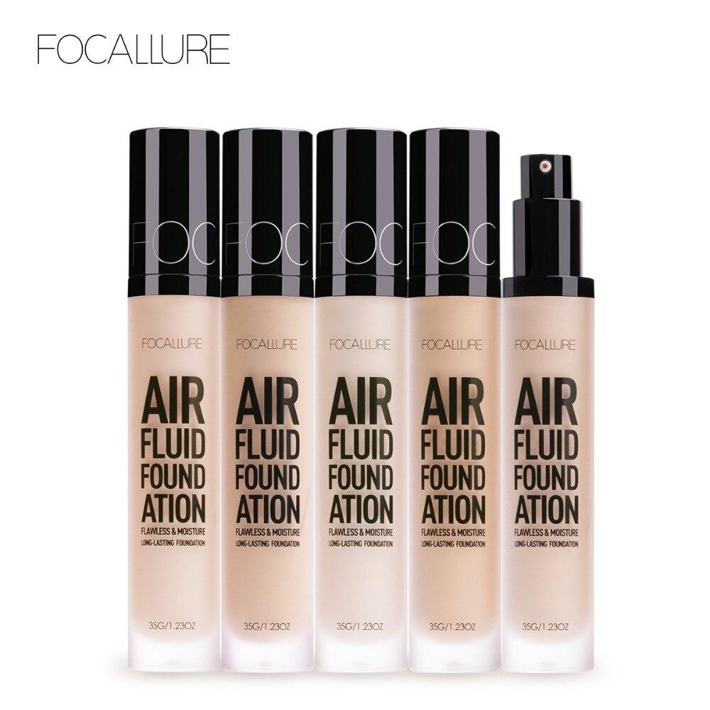 FOCALLURE 2018 Nova Fundação Base de camada de AR FUNDAÇÃO FLUIDO Hidratante Natural de Longa Duração À Prova D' Água Mulheres Maquiagem