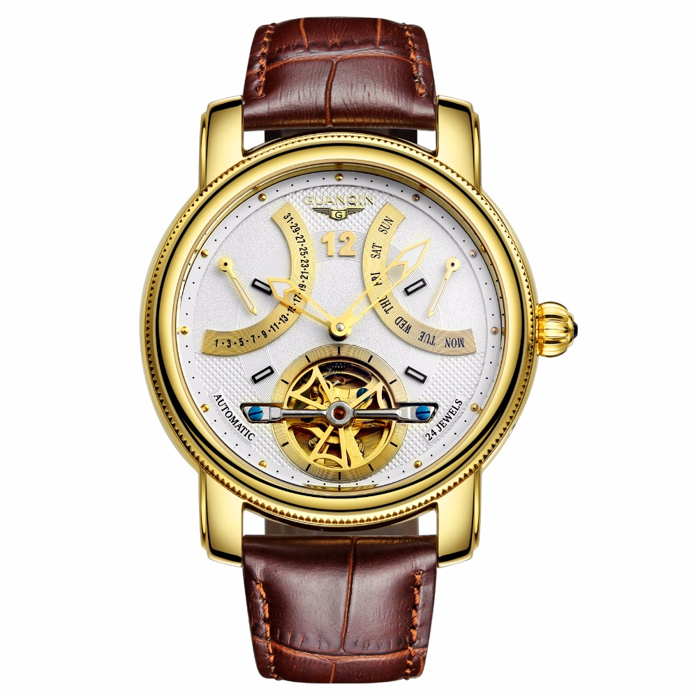 GUANQIN NEW 2018 Luxury Brand Automatic Mechanical Watches Men Waterproof Luminous Watch Calendar Leather Gold Wristwatch