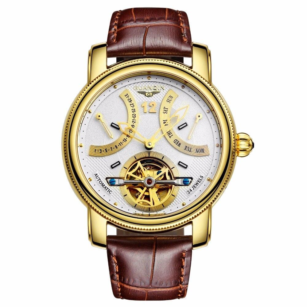 Saatler'ten Mekanik Saatler'de GUANQIN YENI 2018 Lüks Marka Otomatik mekanik saatler Erkekler Su Geçirmez Aydınlık Saat Takvim Deri Altın Kol Saati'da  Grup 1