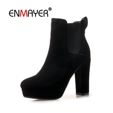 купить ENMAYER Woman Ankle boots High heels Winter Women Boots Cow Suede Fashion Shoes women Elastic band Thick heels Round toe CR1562 онлайн