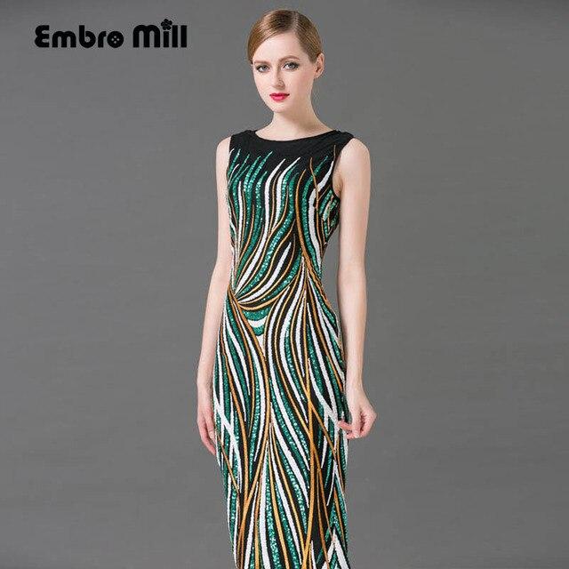 87337a3112 De alta gama larga runway dress con flores de verano nueva euroepan moda  elegante lentejuelas hermosa