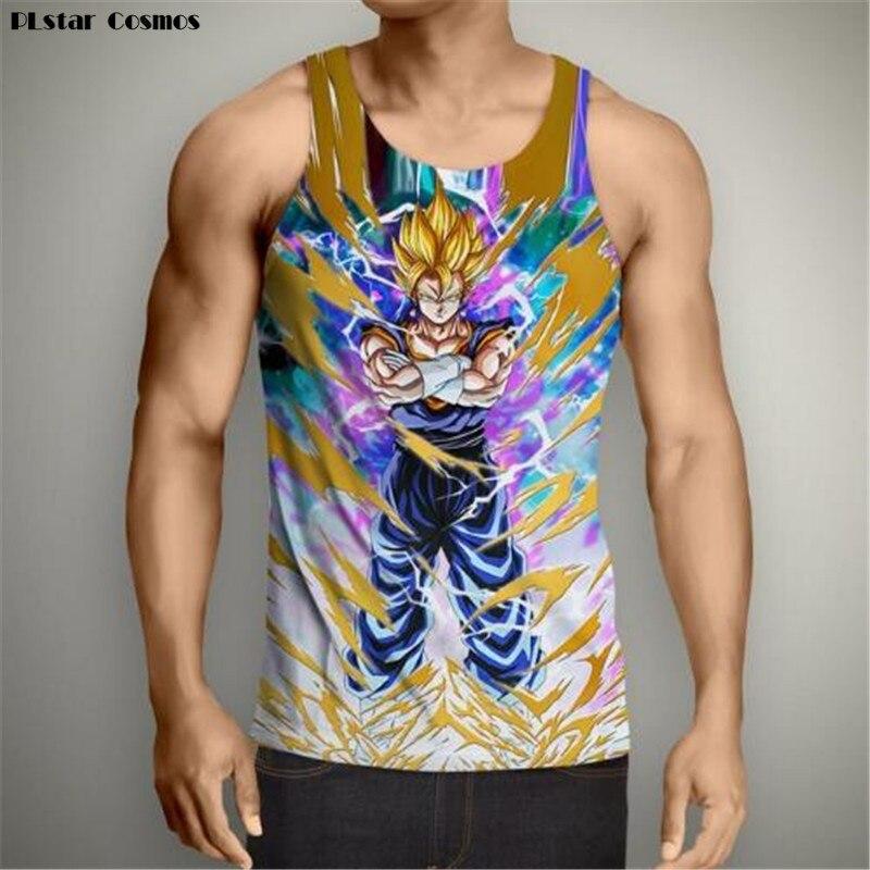 PLstar Cosmos summer 3d vest Anime Dragon Ball Z Super Saiyan Tank Tops Goku Print Men Women Hipster 3D Tank Top Vest size S-5XL