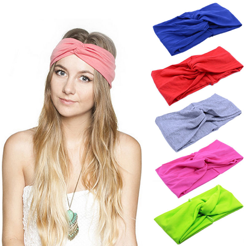 Women Plain Knitted Cross Headband Turban Girls Fashion Twisted Two Layers Elastic Fabric Hairband Hair Accessories Headwrap Large Assortment Girl's Accessories