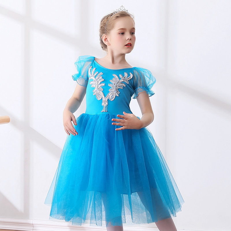 Puff Sleeve Professional Velvet Long Ballet Tutu Dress Children Tulle Costumes Ballerina Girls Romantic Ballet Clothes