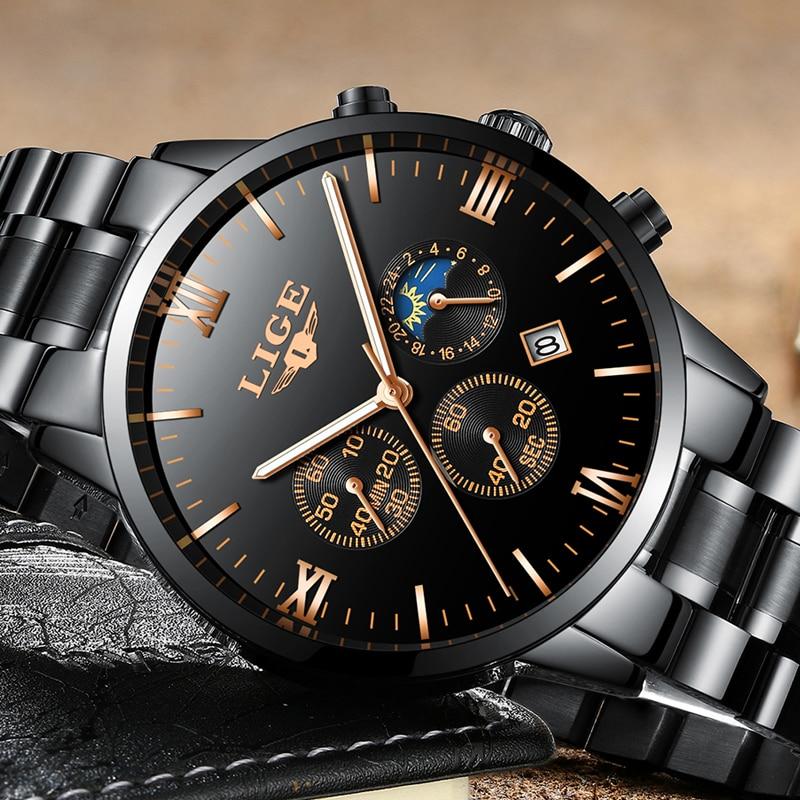 LIGE Men Watches Luxury Top Brand Military Black Sports Watch Men Business Waterproof Full Steel Quartz Watch Relogio Masculino