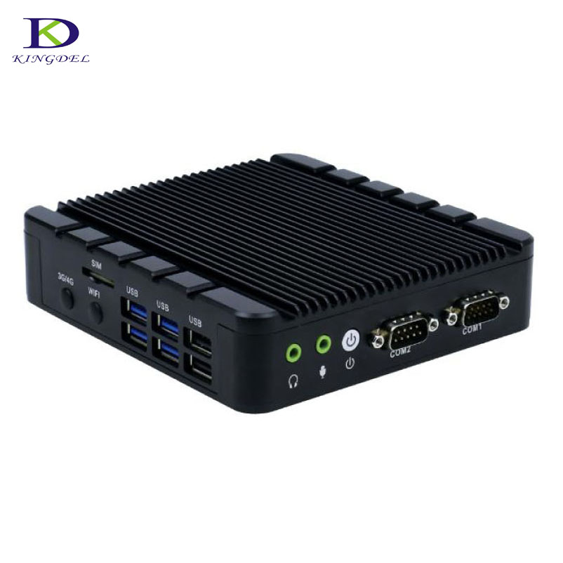 New Industrial Mini PC Intel Celeron J3455 Quad Core Fanless Mini PC With 2*HDMI 1*VGA 2*COM 2*LAN 4*USB3.0 Metal Case Nettop PC