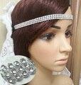 La moda de las mujeres blingbling rhinestone Venda Elástico accesorios para el cabello de color oro plata