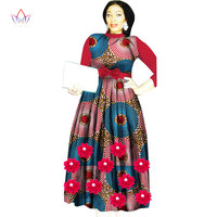 BRW 2017 New Africa Dresses For Women Dashiki Elegant Wedding Long Dress Africa Clothing Flowers Plus