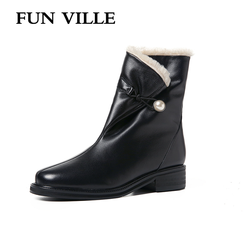 FUN VILLE 2018 New Fashion Autumn winter Women Ankle Boots Genuine Leather  or Cow suede Fur Warm Snow Boots Ladies Martin boots df89abb7cae1c