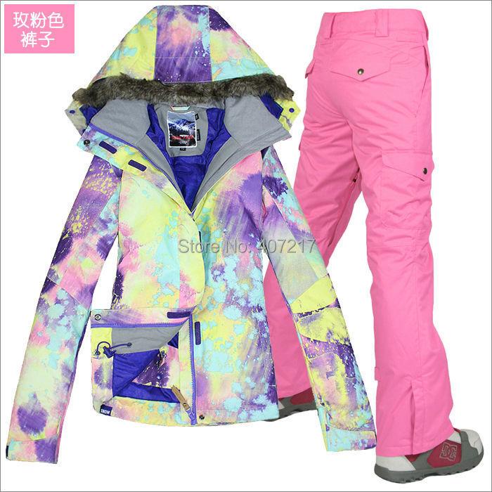 Prix pour 2015 femmes rose combinaison de ski féminin snowboard équitation costume coloré veste + rose pantalon usure de neige vêtements de ski imperméable à l'eau 10 K XS-L