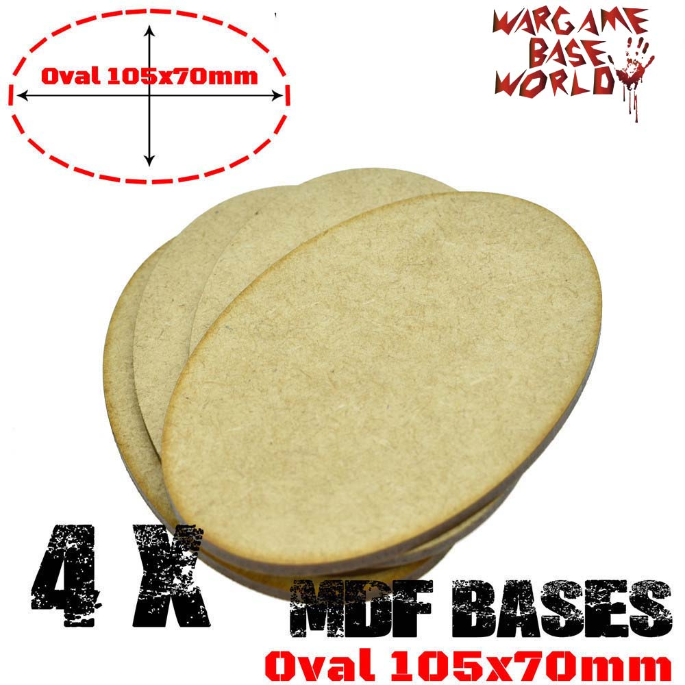 4x AOS MDF Bases - Oval 105x70mm - AOS Base Laser Cut Wargames Wood
