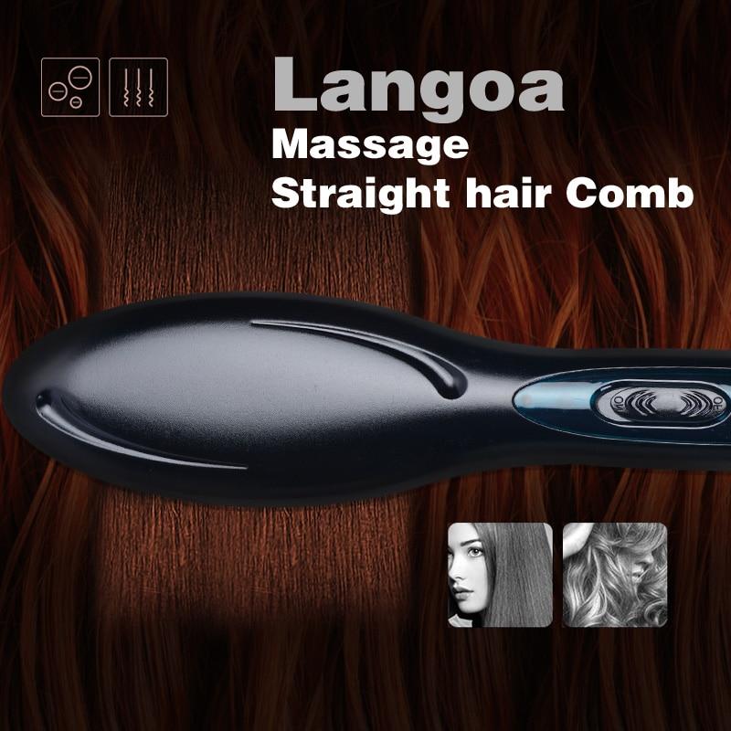 Free Shipping 2017 The new Brush Hair Straightener Comb Irons Electric Hair Straightener Brush Anti Scald