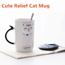New Cartoon Relief Ceramic Mug Coffee Tea Mugs 410ml Cute Kitten Face Mugs with Lid Bottle