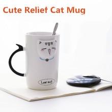 New Cartoon Relief Ceramic Mug Coffee Tea Mugs 410ml Cute Kitten Face Mugs with Lid Bottle Drinkware Cat Cups Creative Gift