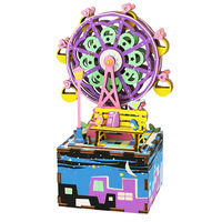 NFSTRIKE Music Box Happy Ferris Wheel Shape Colorable 3D Assembly DIY Steam Stem Toy Wooden Model Building Kits for Kids Girls