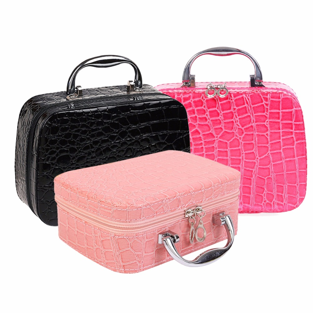 PU Leather Makeup Bag Travel Organizer Cosmetic Bag for Women Large Necessaries Make Up Case Black ladsoul 2018 women multifunction makeup organizer bag cosmetic bags large travel storage make up wash lm2136 g