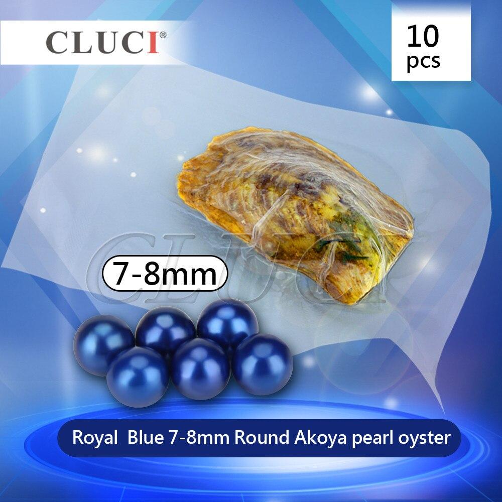 CLUCI meilleur Cadeau De Saint Valentin, 10 pièces 7-8mm bleu perle huîtres perles de charmes, akoya perles rondes pour bijoux à bricoler soi-même