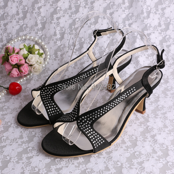 (20 Colors) OEM ODM Black Satin Fabric Mature Women Party Office Sandals with Small Stones Med Heel