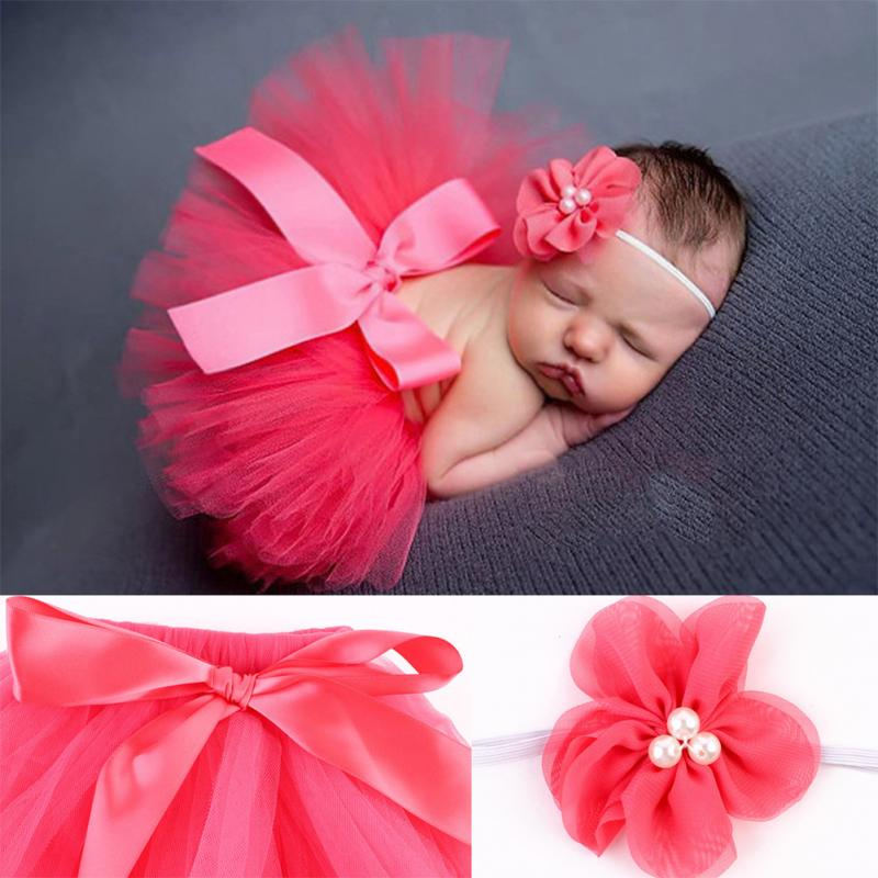 Girl Tulle Tutu Skirt Newborn Photography Props Bowknot Baby Tutu Skirt Gift For 0-6 Months