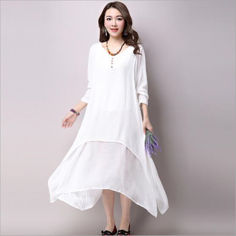 Women White Yellow Orange Two Piece Long Dress Linen Causal Vintage V Neck  Maxi Dress Floor Length Dress QC214 -in Dresses from Women s Clothing on ... 30aebdebda99