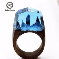 2017 Resin Secret Wooden Rings For Women Magic Forest Wooden Ring Girl Jewelry Fashion Natural Landscape