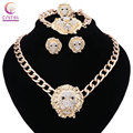 Vintage Lion Head Myth Medusa Crystal Pendant Necklace Earrings Bracelet Ring Gold Plated Fashion Jewelry Set