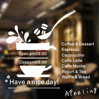 Coffee Shop Vinyl Wall Decal Shop Bussiness Hours Coffee Cup Design Lettering Open Close Shop Time Wall Sticker Decoration