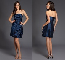 Über dem Knie Mini Abendkleid Echt Rushed 2015 Elegantes A-linie Taft Abendkleid Formal Backless Vestido De Festa F1356