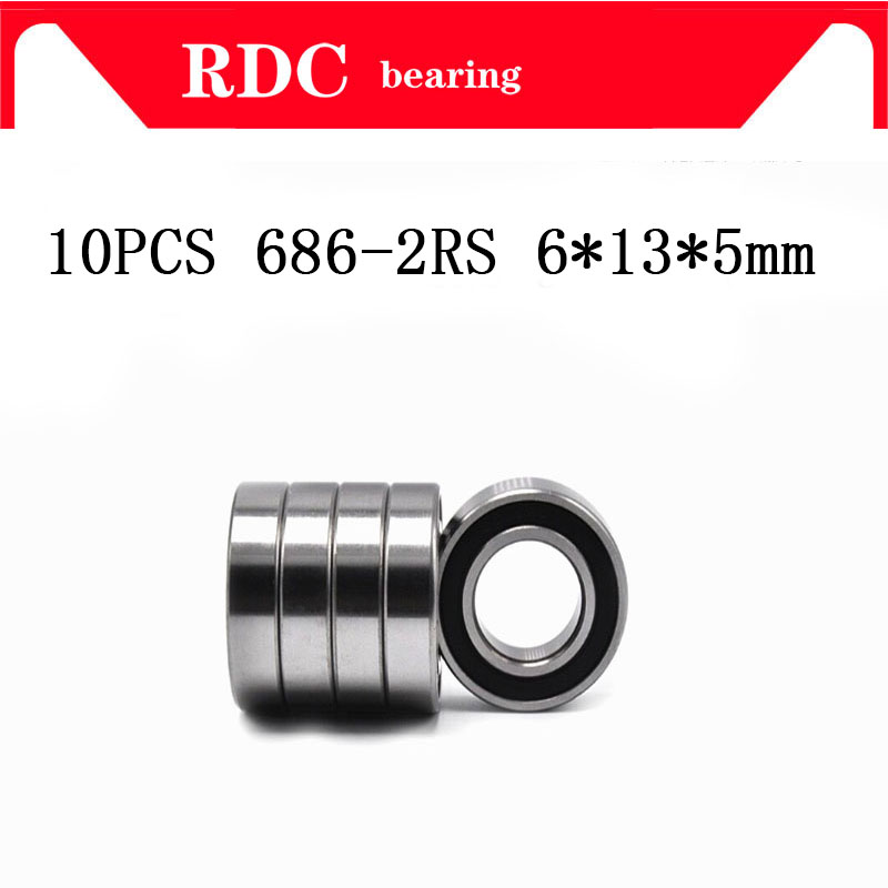 Free Shipping 10PCS High quality ABEC-5 686-2RS 686RS 686 2RS RS L1360 6x13x5 mm 6*13*5mm Rubber seal Deep Groove Ball Bearing free shipping 4pcs 13x19x4 blue rubber bearings abec 3 mr1913 2rs
