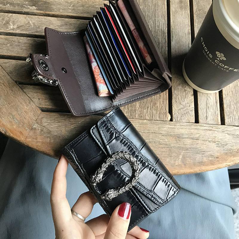 Women Business Card Holder Genuine Leather Cowhide Function 9 Bits Card Design Wallet Bank Credit Card ID Purse Pocket Box