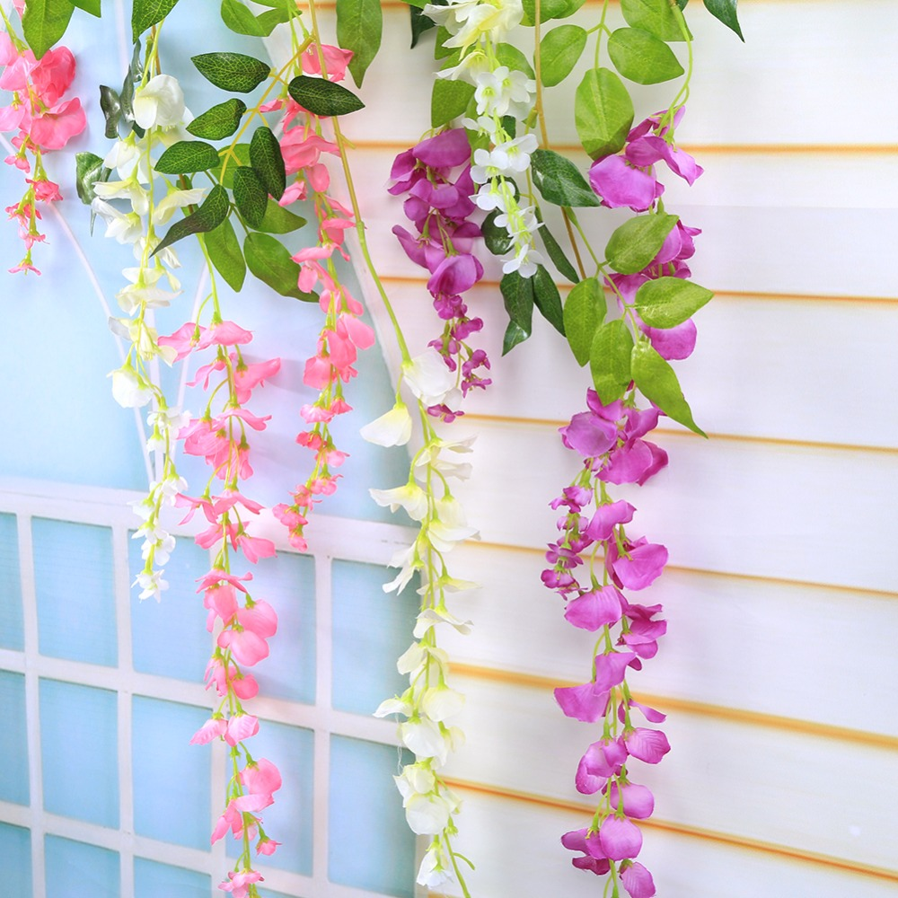 Home Party Wedding Decoration Silk Flower Garland Artificial Wisteria Hanging Flower Romantic