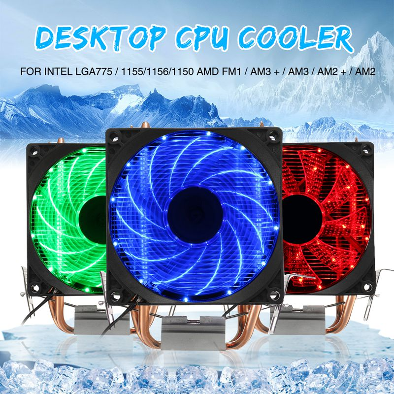 Dual LED CPU Fan Heatsink Radiator 9cm For Intel LGA775/1155/1156/1150 AMD High Quality Computer Cooler Cooling Fan For CPU personal computer graphics cards fan cooler replacements fit for pc graphics cards cooling fan 12v 0 1a graphic fan