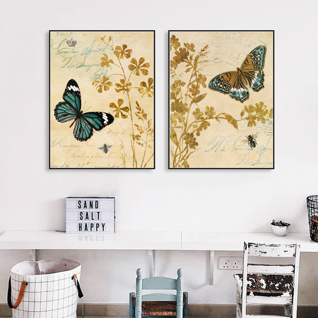 HEYCUADRO Purple butterfly Print Painting Poster Wall Pictures for ...