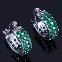 Delicate Round Green Cubic Zirconia 925 Sterling Silver Clip Hoop Huggie Earrings For Women V0953