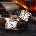 2017 amantes chenxi relojes pareja hombres mujeres marca de lujo impermeable estilo square reloj del cuarzo del cuero de los números romanos de oro