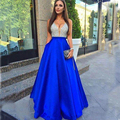 Royal Blue V-Neck Beads Bodice Open Back A Line Long Evening Dress Party Vestido De Festa Fast Shipping Prom Gowns
