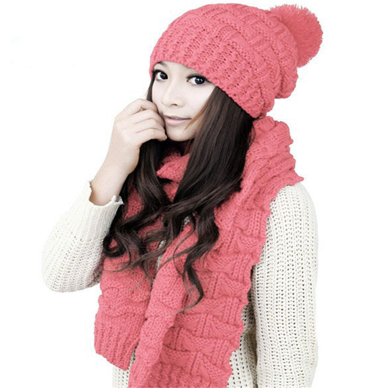 Fashion women winter thermal Skullies Beanies cap thicken solid Knitted cotton hats and Scarf Set for girls wool shawls 5 color women cap skullies