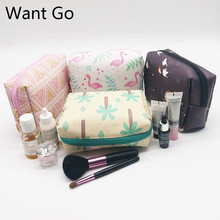hot deal buy want go square women cosmetic cases bags pu leather makeup bag waterproof wash organizer pouch portable storage bag for lady