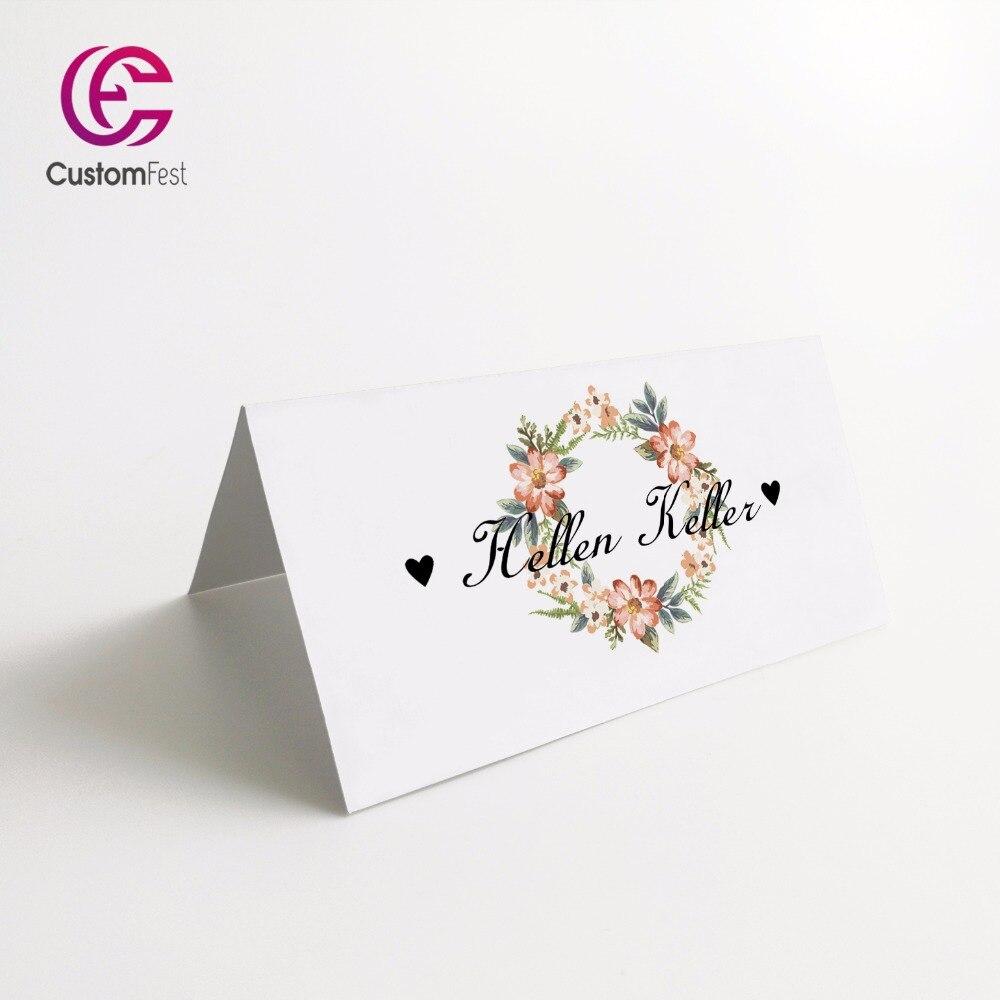 Segnaposto Con Nome Da Stampare us $19.99 |50 pz/lotto personalizzato segnaposto carta di nome per il  partito e la cerimonia nuziale tema floreale 001|name place card|place  cardsfor