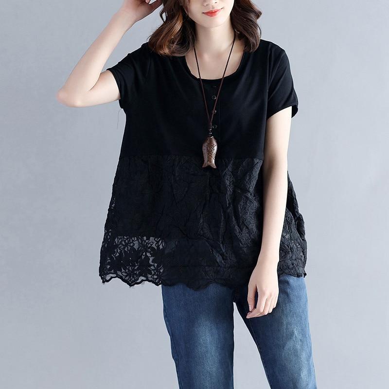 Lace Blouse Shirt Women Casual Cotton Linen Tops Blouse Elegant Short Sleeve Plus Size Ladies Tops Fashion Blusa Feminina Q258