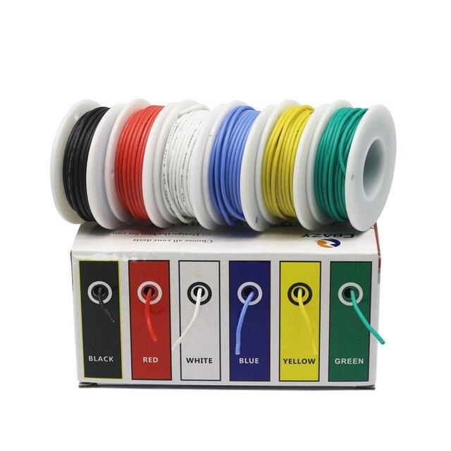 Cable de goma de silicona Flexible de 24AWG y 36 metros, Cable de línea de cobre estañado, Kit de cables mezcla de 6 colores DIY