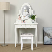 Women Dressing Table With Stool 4 Drawers Bedroom Makeup Desk Oval Mirror Chic