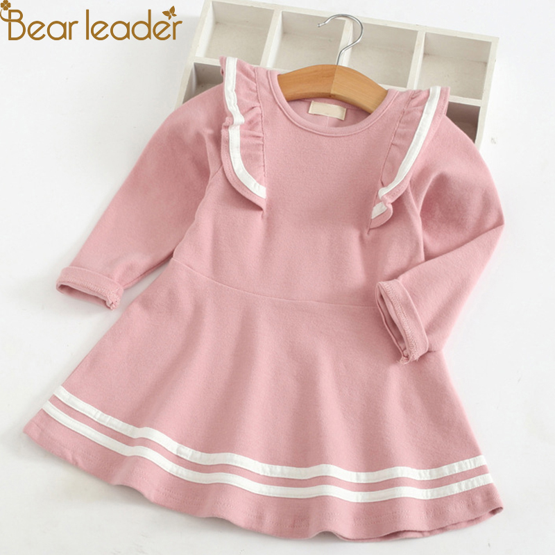 Bear Leader Autumn Long Sleeve Girls Dress New Casual Style Girls Clothes Cartoon Letter Pattern Printing Dress for Kids Clothes letter print split sleeve dress