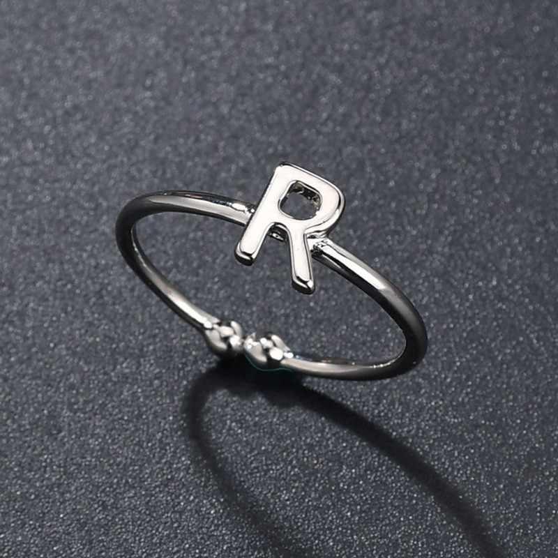 Moda Handmade nazwa A-Z początkowy pierścień dla kobiet dziewczyna koreański srebrny kryształ Rhinestone list pierścień otwierający biżuteria Drop Shipping