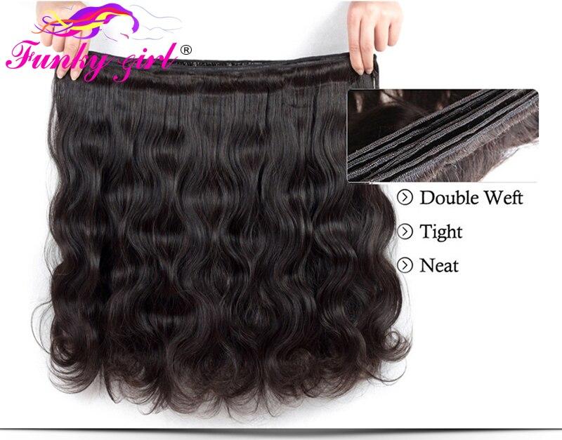 HTB1PJg gWSWBuNjSsrbq6y0mVXa6 Funky Girl 3/4 bundles with frontal Peruvian Body Wave Human Hair Lace Frontal Closure With Bundles Non Remy Frontal With Bundle