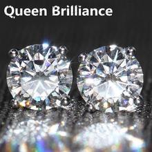 Genuine 14 K 585 White Gold Screw Back 2 Carat ct G-H Color Test Positive Lab Grown Moissanite Dia mond Earrings For Women Gift